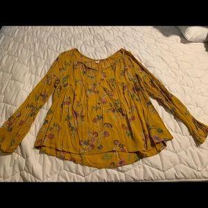 Old Navy Tassel Tie Floral Boho Swing Blouse